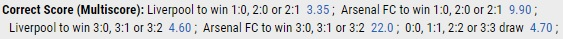 Correct Score Betting 2